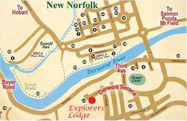 Explorers Lodge Map of New Norfolk